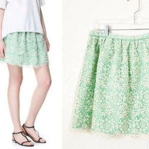 Zara Turquoise Embroidered Floral Lace Mini Skirt